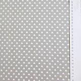 Textil - sivo-biele srdiečka; bavlnená látka 50 x 140 cm - 7035058_