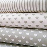 Textil - sivo-biele srdiečka; bavlnená látka 50 x 140 cm - 7035065_