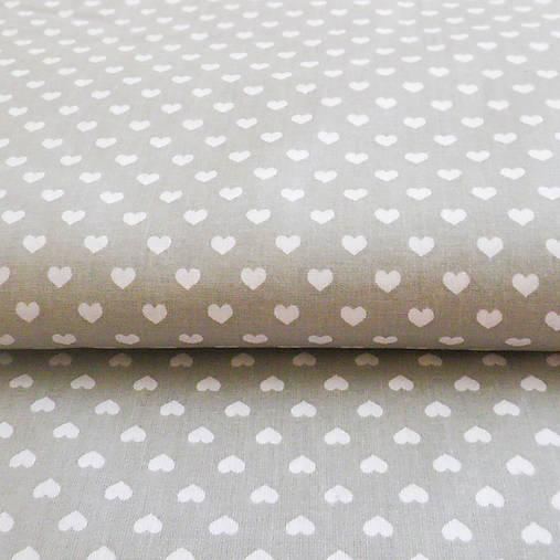 sivo-biele srdiečka; bavlnená látka 50 x 140 cm