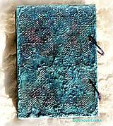Papiernictvo - Tyrkysový sen - umelecký diár,kronika,zápisník,sketchbook - 7033546_