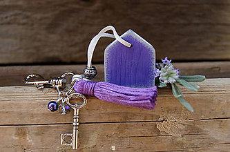 Kľúčenky - Levanduľový domček na tašku alebo kľúče - 7035006_