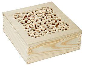Polotovary - Krabička ažúr štvorec masív - 7034659_