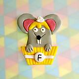 Magnetky - Okydaná zver s iniciálom - myš NA ZÁKAZKU - 7034447_