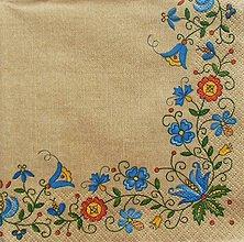Papier - S770 - Servítky - ľudový motív, folkový, hnedá - 7036628_