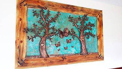 Rámiky - Dvojmetrový obraz: stromy z medi a motýle - 7036993_