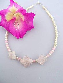 Náhrdelníky - ruženín perly náhrdelník pre nevestu - 7036780_
