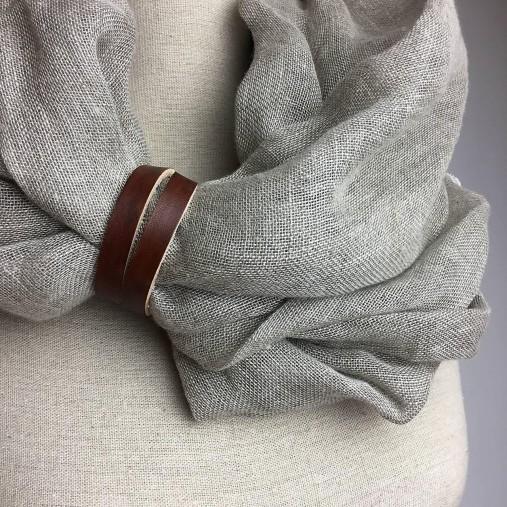 Doplnky - Prírodný jemný ľanový šál s koženým doplnkom - 7036239_