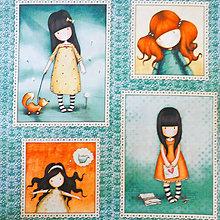 Textil - Santoro Gorjuss, dievčatko na paneloch, bavlnená látka 110 x 60 cm - 7036363_