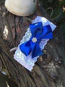 Bielizeň/Plavky - Svadobný podväzok Kráľovská modrá - 7037041_
