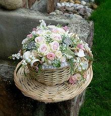 Dekorácie - v prútenej šálke - Ružový čaj - 7041983_
