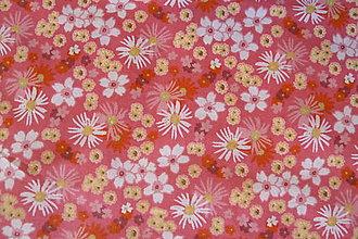 Textil - Lia kvietky na malinovej - 7042284_