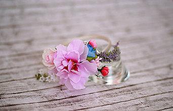 Ozdoby do vlasov - Jemná kvetinová čelenka v ružovom - 7042543_
