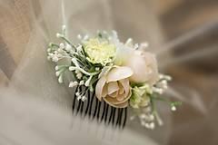 Ozdoby do vlasov - Hrebienok do vlasov bielo-krémový - 7041385_