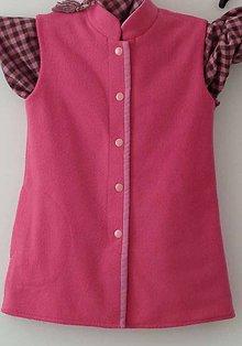 Detské oblečenie - Evka--obojstranná vesta pre dievčatá - 7040833_