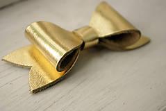 - Kožená brošňa mašľa, malá - 7045830_