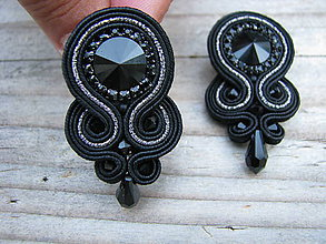 Náušnice - Simple teardrop...soutache (Black/Grey) - 7045987_