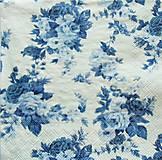 Papier - S755 - Servítky - modré kvietky, jemné - 7046462_