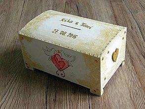 Krabičky - pokladnička svadobné holubice - 7045671_