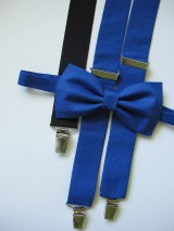Doplnky - Pánsky motýlik a traky- kráľovská modrá set - 7046382_