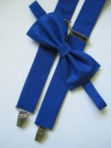 Doplnky - Pánsky motýlik a traky- kráľovská modrá set - 7046386_