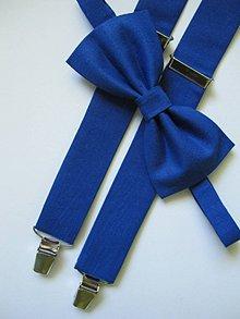 Doplnky - Pánsky motýlik a traky- kráľovská modrá set - 7046384_