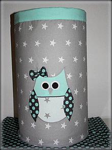 Detské doplnky - úložný  box na hračky sova mint, výška 45 cm, priemer 35 cm - 7045145_