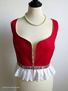 Tričká - červená folk vestička - 7043394_
