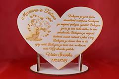 Darčeky pre svadobčanov - Drevene srdiečko ako poďakovanie rodičom 19 - 7045639_