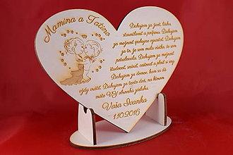 Darčeky pre svadobčanov - Drevene srdiečko ako poďakovanie rodičom 19 - 7045637_