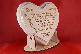Darčeky pre svadobčanov - Drevené  srdiečko ako poďakovanie rodičom - 7045690_