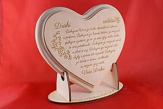 Darčeky pre svadobčanov - Poďakovanie rodičom - lipové srdiečko + stojanček 5 - 7045740_