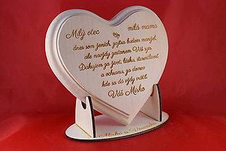 Darčeky pre svadobčanov - Poďakovanie rodičom lipové srdiečko + stojanček 12 - 7045885_