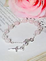 Náramky - Rosary Silver 925 Rose Quartz Bracelet / Strieborný ruženec na ruku alebo do auta s ruženínom - Ag 925 - 7049618_