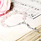 Náramky - Rosary Silver 925 Rose Quartz Bracelet / Strieborný ruženec na ruku alebo do auta s ruženínom - Ag 925 - 7049793_