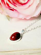 Náhrdelníky - Simple Red Jasper Silver 925 / Náhrdelník s oválnym príveskom červeného jaspisu - Striebro Ag 925 - 7049832_