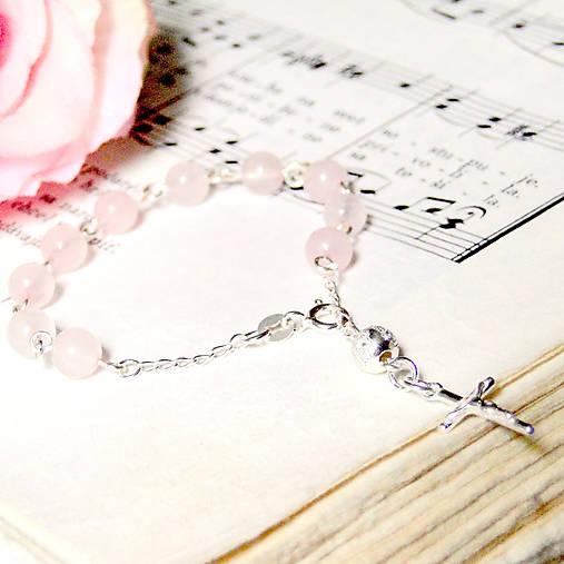 Rosary Silver 925 Rose Quartz Bracelet / Strieborný ruženec na ruku alebo do auta s ruženínom - Ag 925