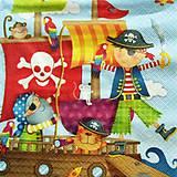 Papier - S751 - Servítky - pirát,námorník, loď, opica - 7048051_
