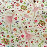 Papier - S772 - Servítky - baletka, víla, srdce, ruže - 7048062_