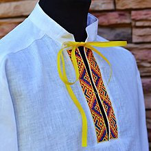 Oblečenie - Ľanová folk košeľa žltá - 7047838_