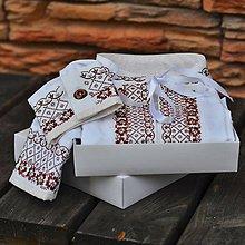 Oblečenie - Hnedá výšivka na bielej - 7047859_