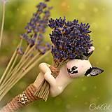 Bulteriér a levanduľa - pierko pre ženícha podľa fotografie
