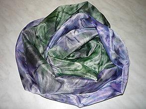 Šály - Šál azúrovomodrý so zelenou - 7050063_