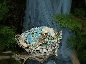 Dekorácie - Tyrkysové ruže v bielom košíku - 7051838_