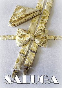 Detské doplnky - Detský zlatý set motýlik + traky - 7050539_