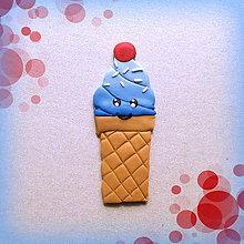 Magnetky - Sladké magnetky (Usmiata modrá zmrzlina s čerešničkou) - 7050504_