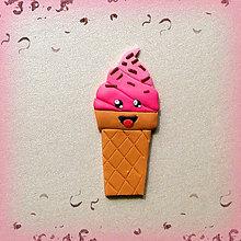 Magnetky - Sladké magnetky (Usmiata jahodová zmrzlina s čokoládovou posýpkou) - 7050728_