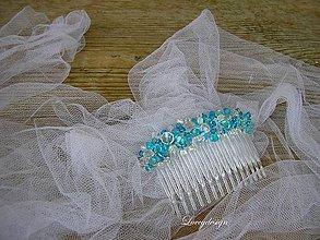 Ozdoby do vlasov - svadobný hrebienok-tyrkys - 7051944_