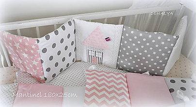 Textil - Mantinel Basic ružový s domčekom 180x25cm p. Kristínka - 7055083_