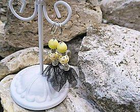 Náušnice - Elegantné žlté tango náušnice s kvietkami - 7053481_