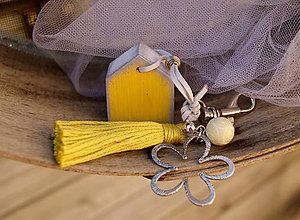 Kľúčenky - Žltý domček na tašku alebo kľúče - 7052945_